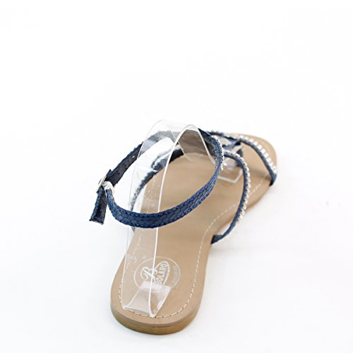 Nye Brieten Kvinner Besatt Rhinestone T-stropp Komfort Flate Sandaler Blå