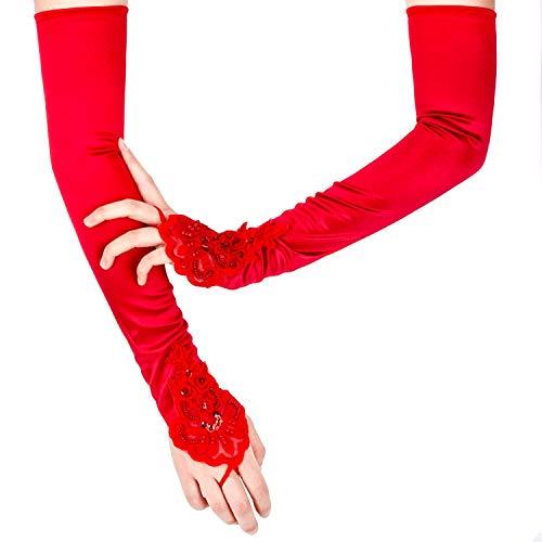"SAVITA Fingerless Long Red Gloves Pierced Elbow Length Satin Gloves 19"" Stretchy Opera Evening Party 1920s Gloves for Women"