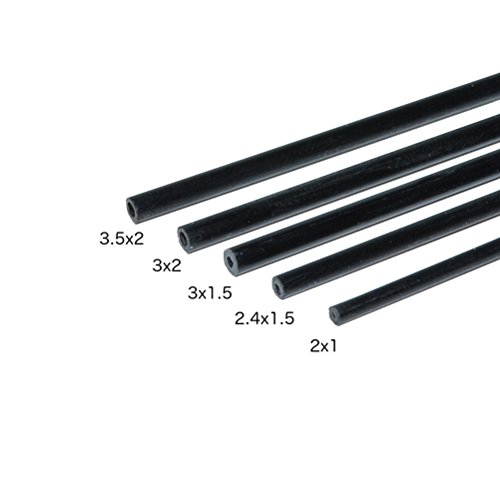 Carbon Fiber Round Tubes 2.5mm x 1.5mm 1000mm for Kites, RC Airplanes, and More! Includes 5 Tubes. Pultruded Carbon