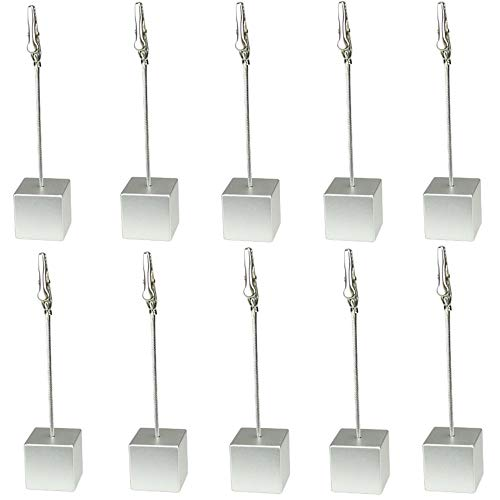 Table Number Holder Name Place Card Holder Memo Clip Holder Stand Note Holder Pictures Card Paper Menu Clip (Silver) (10PCS)