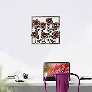 Buy Collectible India Metal Decorative Floral Frame Wall Hanging Modern Arts Sculpture Gifts Home Decor Size 14 X Inches Online At Low Prices In