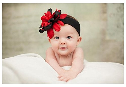Headband Jamie Rae Hats - Jamie Rae Hats Black Soft Headband with Black Red Small Peony, Size: 12m+
