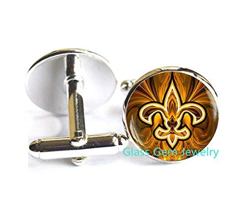 (Fleur de lis Cufflinks , Fleur de lis Cuff links, fleur de lis jewelry, heraldry jewelry royal heraldic sign,Q0118)