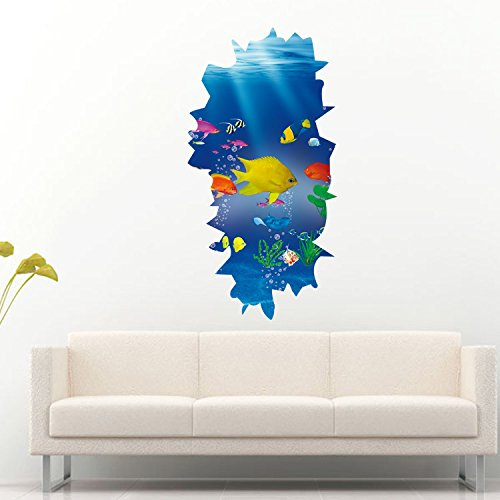 Chezmax 3d fish wall art sticker removable wall decal for for 3d wallpaper for home malaysia