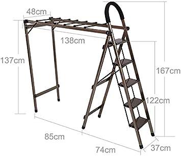 BBG Fácil Y Conveniente de Múltiples Funciones Escalera Plegable Telescópica, Escalera de Secado Panel de Doble Uso Espiga Escalera Plegable de Secado Interior Escalera Espesa la Aleación de Aluminio: Amazon.es: Bricolaje y