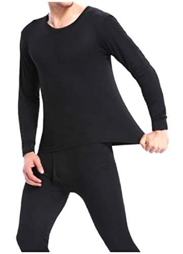 Colored Thermal Underwear - Tootless Men's Lined Solid-Colored Thermal 2PC Set Top and Long John Black M