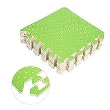 18Pcs Printed Flower Grain Floor Foam Puzzle Mat, Eva Anti Fatigue Extra Thick Children Exercise Play Interlocking Flooring Cushioned, 30 x 30cm x 1cm