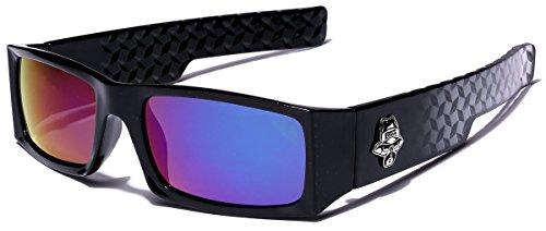 Locs Men's Original Gangsta Shades Rectangle Sunglasses with Color Mirror - Rectangle Sunglasses Mirror