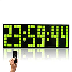 ZXF Creative Luminous Lattice Digital LED Large Screen Wall Clock, Remote Control Multi-Function Electronic Clock Mute, for Home/Outdoor/Public Occasions (24 8.5 5.5CM) Fashion