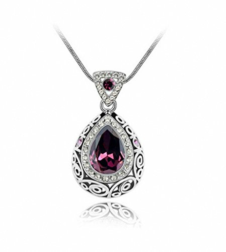 megko Fashion Austrian Crystal Angel Teardrop Pendant Necklace