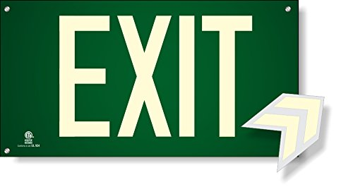 (Photoluminescent Exit Sign Green W/Holes and Hardware - Aluminum Code Approved UL 924 / IBC/NFPA 101)