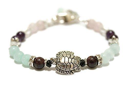 Fertile Turtle Fertility and Pregnancy Bracelet Featuring Natural Gemstones Rose Quartz, Amethyst, Rock Crystal,Garnet, Black Onyx, Moonstone, Amazonite