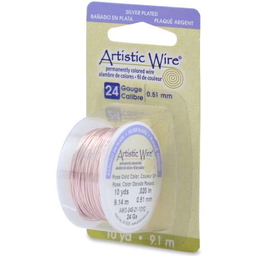 Beadalon 24AWG-21 24 Gauge Permanent Colored Copper Wire, 10-Yard, Rose Gold