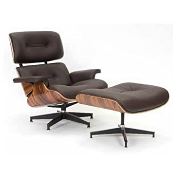 UK9021  Chocolate Brown Leather Charles Eames Lounge Chair And Ottoman