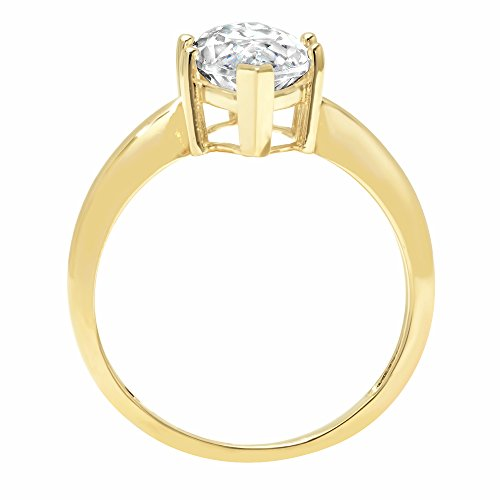 2.5ct Marquise Brilliant Cut Classic Solitaire Designer Wedding Bridal Statement Anniversary Engagement Promise Ring Solid 14k Yellow Gold, 9.25 by Clara Pucci (Image #1)