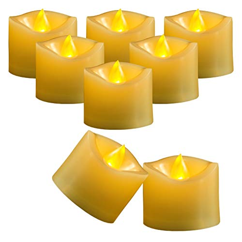 AMAGIC Flameless Battery Operated Tea Lights with Timer - 500+ Hr. Ultra Long Lasting Battery Life Electric Tealight, Small Timing LED Candle in Amber Yellow - Dia1.5, Melted Edge, Pack of 12