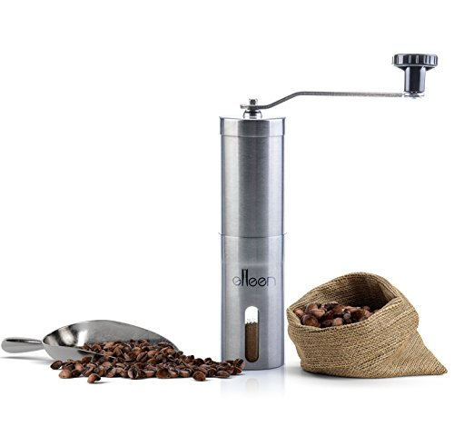 Burr Coffee Grinder, Manual Coffee Grinder, Conical Burr Mill Brushed Stainless Steel, Mini Portable Home Kitchen Travel Coffee Bean Grinder/Coffee Mill Perfect Grinder for Every Coffee Lover
