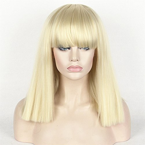 StrongBeauty Heat Resistant Women Kinky Straight Full Bangs Thick Wig For Black Women (#613 Blonde) (Lady Gaga Costume Halloween)