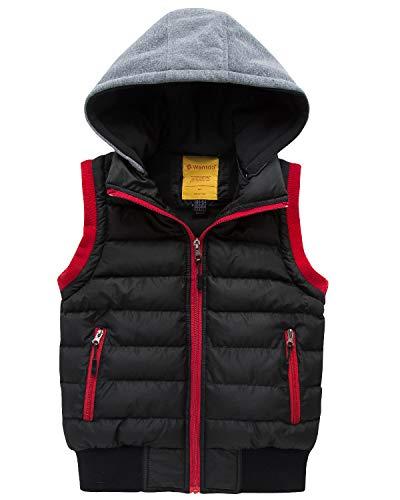 Wantdo Boy's Windproof Hooded Puffer Fleece Vest Warm Thick Jacket Black ()