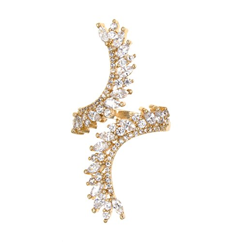 Lavencious Cocktail Fashion Ring Size Adjustable Form 6-8.5 Cubic Zirconia Marquise Shape Jewelry for Women (Gold)