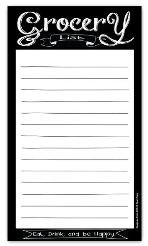 Chalkboard Style Grocery List Magnetic Groceries Pad 4.25 x 7.5, 50-Sheets De Lis Memo Pad
