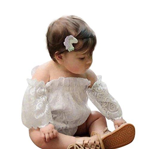 Sharemen Baby Girls Lace Print Off Shoulder Romper Clothes (White, 12-18 (Lemon Sequin)