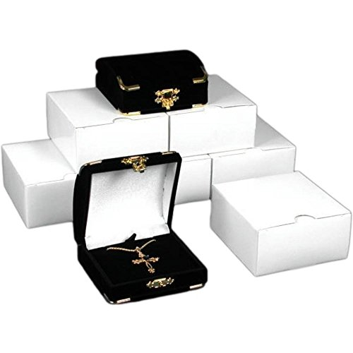 (6 Pendant Gift Boxes Black Flocked Jewelry Case Display )