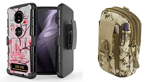 Bemz Bundle Pack Case for Moto Z4: BC Heavy Duty Armor Cover with Belt Holster Clip (Cherry Blossom) with Tactical Organizer Travel Pouch (Desert Pixel Camo) from Bemz Depot