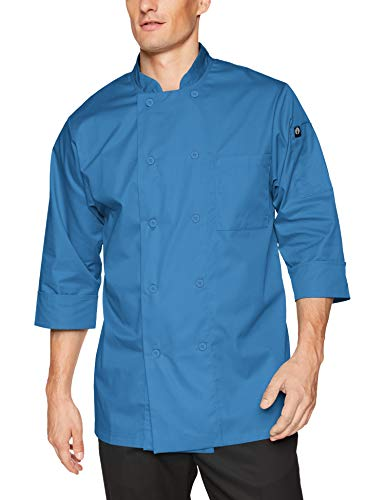 Chef Works JLCL-BLU-XL Basic 3/4 Sleeve Chef Coat, XL, Blue