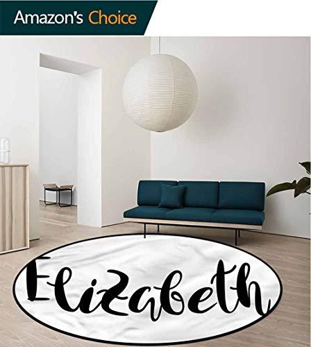 RUGSMAT Elizabeth Round Kids Rugs,Monochrome Letters Living Dinning Room & Bedroom Rugs Round-51