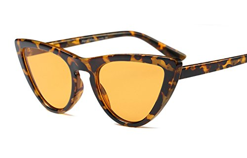 Freckles Mark Thin Narrow Skinny Plastic Semi Cat Eye Triangle Women Sunglasses (Tortoise Yellow, - Eye Sunglasses Cat Tortoise