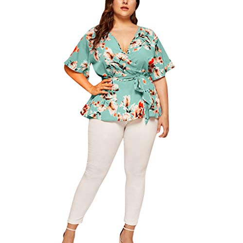 (GDJGTA Top for Womens Plus Size Casual V-Neck Short-Sleeved Printed Waist Belt Top Green)