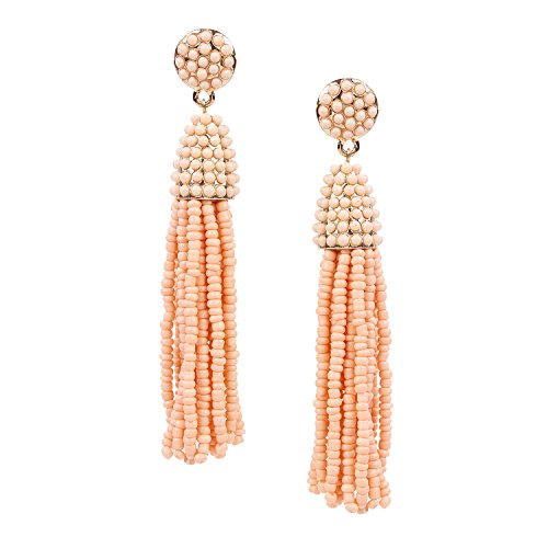 BaubleStar Cantaloupe Fashion Gold Tassel Dangle Earrings Handmade Fringe Beaded Long Drop Boho Bohemian Statement Jewelry for Women Girls-BAN0032