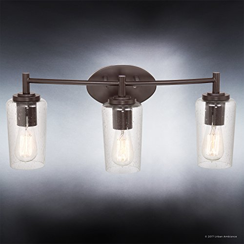 Luxury Vintage Bathroom Vanity Light, Medium Size: 10''H x 23''W, with Antique Style Elements, Elegant Estate Bronze Finish and Seeded Glass, Includes Edison Bulbs, UQL2272 by Urban Ambiance by Urban Ambiance (Image #3)