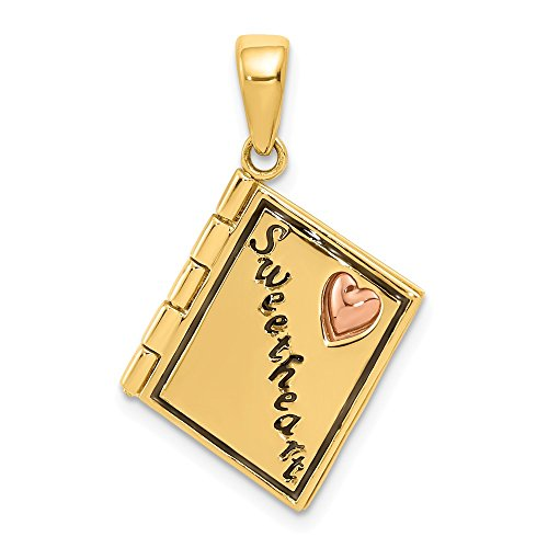 14k Two Tone Yellow Gold Enameled Moveable Sweetheart Book Pendant Charm Necklace Wedding Love S/love Message Fine Jewelry Gifts For Women For Her