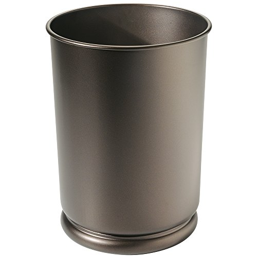Wastebasket Office (mDesign Slim Round Metal Small Trash Can Wastebasket, Garbage Container Bin for Bathrooms, Powder Rooms, Kitchens, Home Offices, Kids Rooms - Bronze)