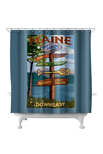 Katahdin Cabin - Mount Katahdin, Maine - Destinations Sign (71x74 Polyester Shower Curtain)