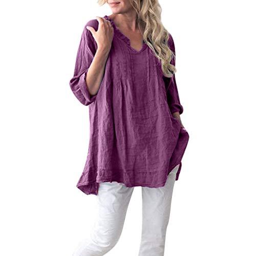Womens Ctton Tops Tanhangguan Ladies V-Neck Long Sleeve Flounce Pleats Plus Size T Shirts Casual Loose Fit Blouses Shirts Purple