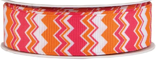 The Gift Wrap Company Zig Zag Printed Grosgrain Ribbon, Sherbert Cooler