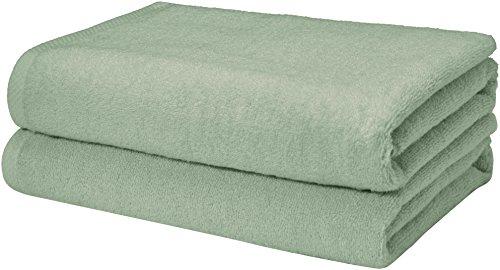 AmazonBasics Quick-Dry Bath Towels - 100% Cotton, 2-Pack, Seafoam Green - Green Foam Bath