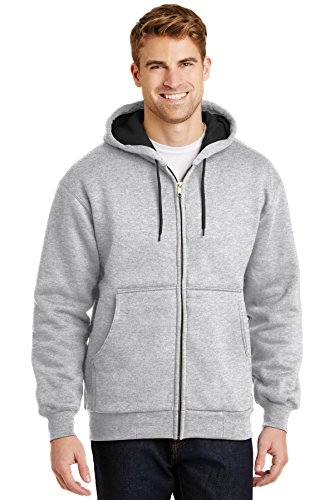 CornerStone - Heavyweight Full Zip Hooded Sweatshirt with Thermal Lining. CS620,X-Large,Athletic Heather