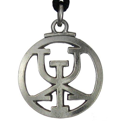 top Pewter Icelandic Binding Rune - Obtain Riches Pendant