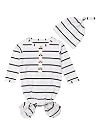 SUPEYA Newborn Baby Boy Girl Stripe Print Sleep Gown Swaddle Sack Outfits+Cap Headband