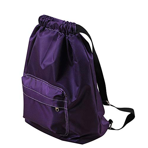 Drawstring Bag, ZOMUSAR Water Resistant Swim Gym Sports Dance Bag Drawstring Backpack Cinch Sack Sackpack Waterproof Outer Shell Fabric (Purple) (Making Leather Handbags And Other Stylish Accessories)