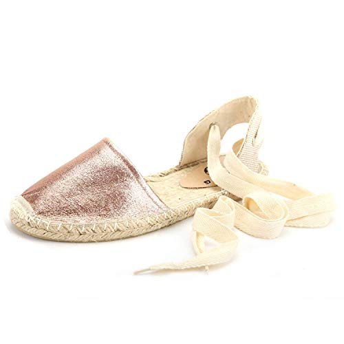 diig Espadrille Sandals for Women, Lace Up Closed Toe Espadrilles Silver Brown Navy Light/Rose Gold Tie Up Flat Shoes (04-9-3 / Rose Gold, US-8)