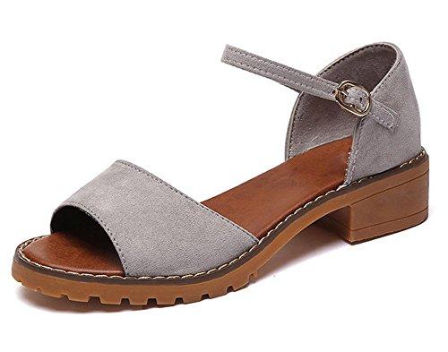 Sommer-Sandalen Partei mit der Fischkopf Wort Schnalle Sandalen grau