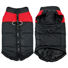 SODIAL(R) Waterproof Pet Dog Puppy Vest Jacket Clothing Warm Winter Dogs Clothes Coat(red+black)M