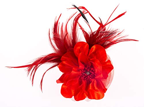 Fascinator Headband Women Mesh Feather Flower Hair Clip Brooch Corsage Girls Wedding Tea Party Derby Cocktail Headwear Hairpin Head Decoration(Red) -