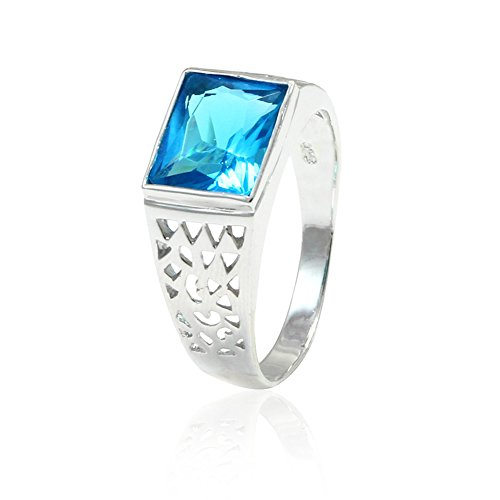 Topaz Ring Radiant Blue (Accent Filigree Design Men Ring Radiant Cut Simulated Blue Topaz 925 Sterling Silver)