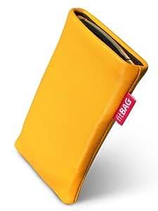 Beat Yellow fitBAG-Funda para Acer a medida Neo P400. Touch piel de napa de calidad superior con forro de microfibra para limpieza de pantalla